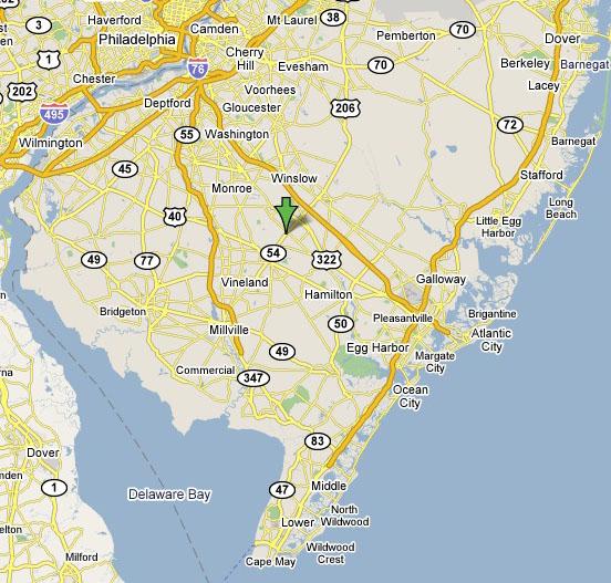 Neil J Babel Plumbing Williamstown NJ - South jersey map
